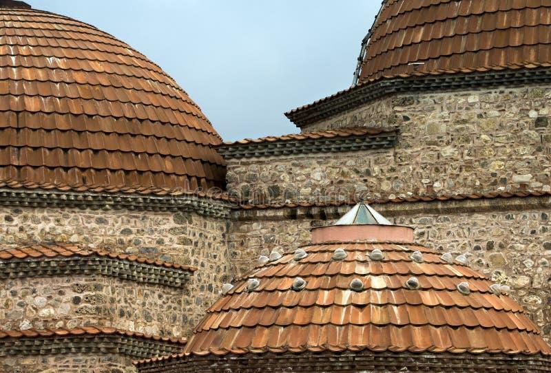 Θόλοι ενός τουρκικού Hamam από την οθωμανική εποχή σε Iznik, Bursa, Τουρκία στοκ εικόνα