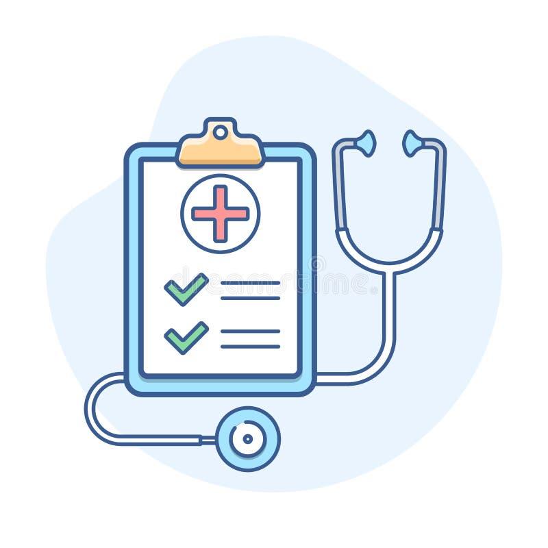 Ιατρική ασφάλεια με το εικονίδιο γραμμών στηθοσκοπίων Απεικόνιση περιλήψεων ασφαλιστήριων συμβολαίων απεικόνιση αποθεμάτων