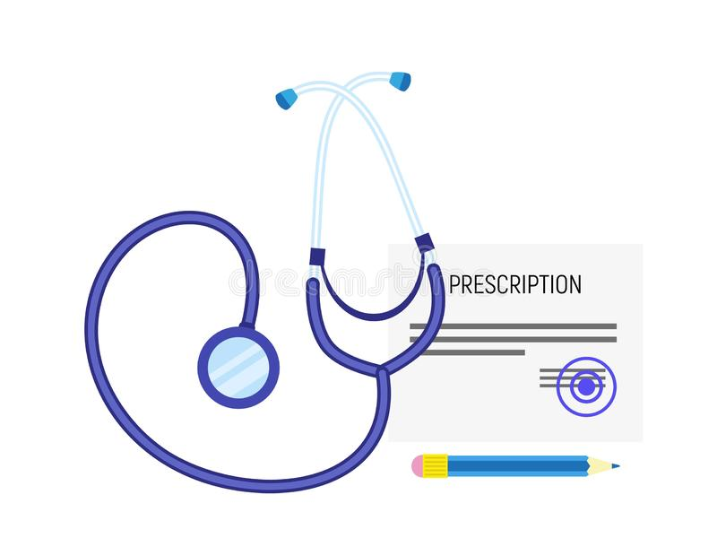 Ιατρικό εικονίδιο συνταγών στηθοσκοπίων, επίπεδο ύφος διανυσματική απεικόνιση