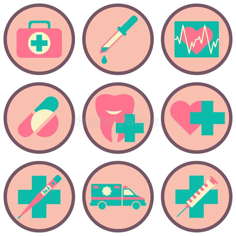 Ιατρικό επίπεδο σύνολο εικονιδίων ιατρικών εργαλείων και εξοπλισμού υγειονομικής περίθαλψης Διάνυσμα illustrationflat ελεύθερη απεικόνιση δικαιώματος