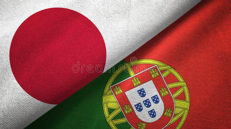 Ιαπωνία και Πορτογαλία δύο υφαντικό ύφασμα σημαιών, σύσταση υφάσματος διανυσματική απεικόνιση