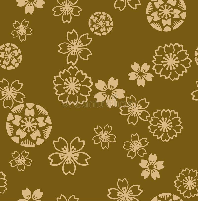 Ιαπωνικό χρυσό σχέδιο ανθών κερασιών διανυσματική απεικόνιση