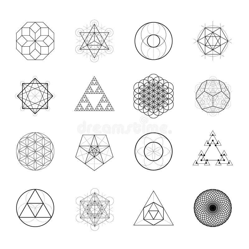 Ιερά στοιχεία σχεδίου γεωμετρίας διανυσματικά Αλχημεία, θρησκεία, φιλοσοφία, πνευματικότητα, hipster σύμβολα διανυσματική απεικόνιση