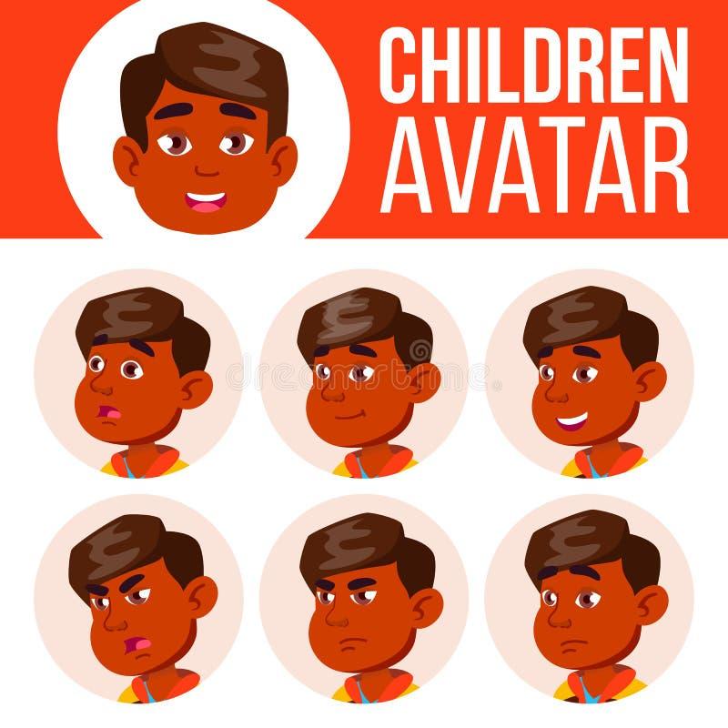 Ινδικό αγοριών διάνυσμα παιδιών ειδώλων καθορισμένο kindergarten Αντιμετωπίστε τις συγκινήσεις Πορτρέτο, χρήστης, παιδί Junior, π ελεύθερη απεικόνιση δικαιώματος