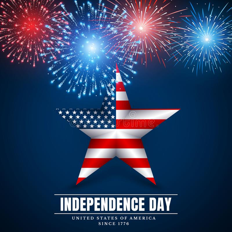 4 Ιουλίου αμερικανικό αστέρι, ημέρα της ανεξαρτησίας Πυροτεχνήματα Ζωηρόχρωμο πυροτέχνημα φεστιβάλ Διανυσματικό llustration στο μ ελεύθερη απεικόνιση δικαιώματος
