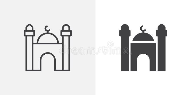 Ισλαμικό εικονίδιο οικοδόμησης μουσουλμανικών τεμενών απεικόνιση αποθεμάτων