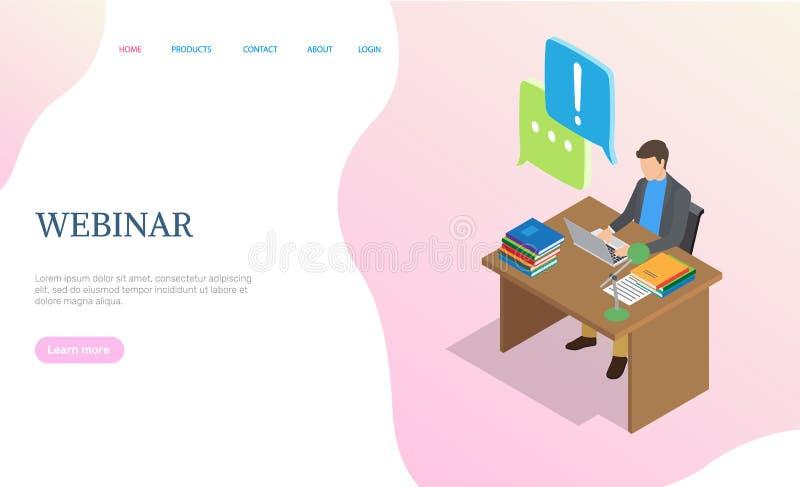 Ιστοχώρος Webinar, άτομο που λειτουργεί με το διάνυσμα lap-top απεικόνιση αποθεμάτων
