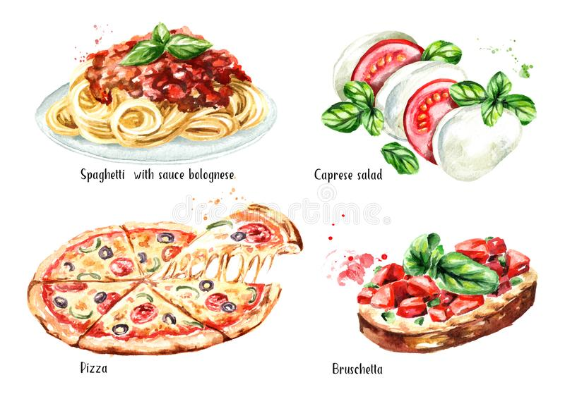 Ιταλικό σύνολο τροφίμων Πίτσα, μακαρόνια με το sause bolognese, σαλάτα Caprese, Bruschetta Συρμένη χέρι απεικόνιση Watercolor που διανυσματική απεικόνιση