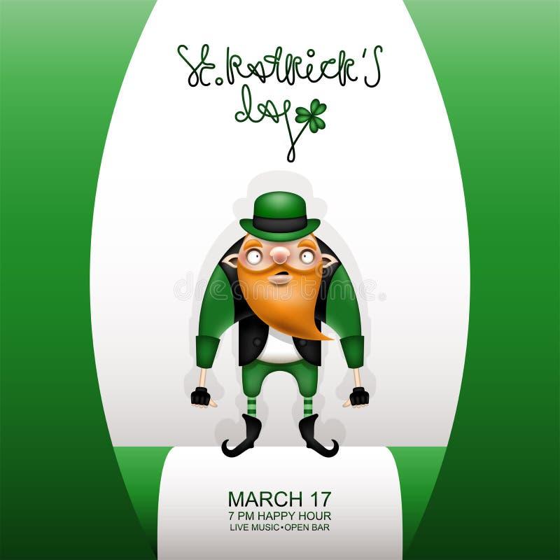 Κάρτα και στοιχειό Gretting πράσινη σε ένα καπέλο ελεύθερη απεικόνιση δικαιώματος