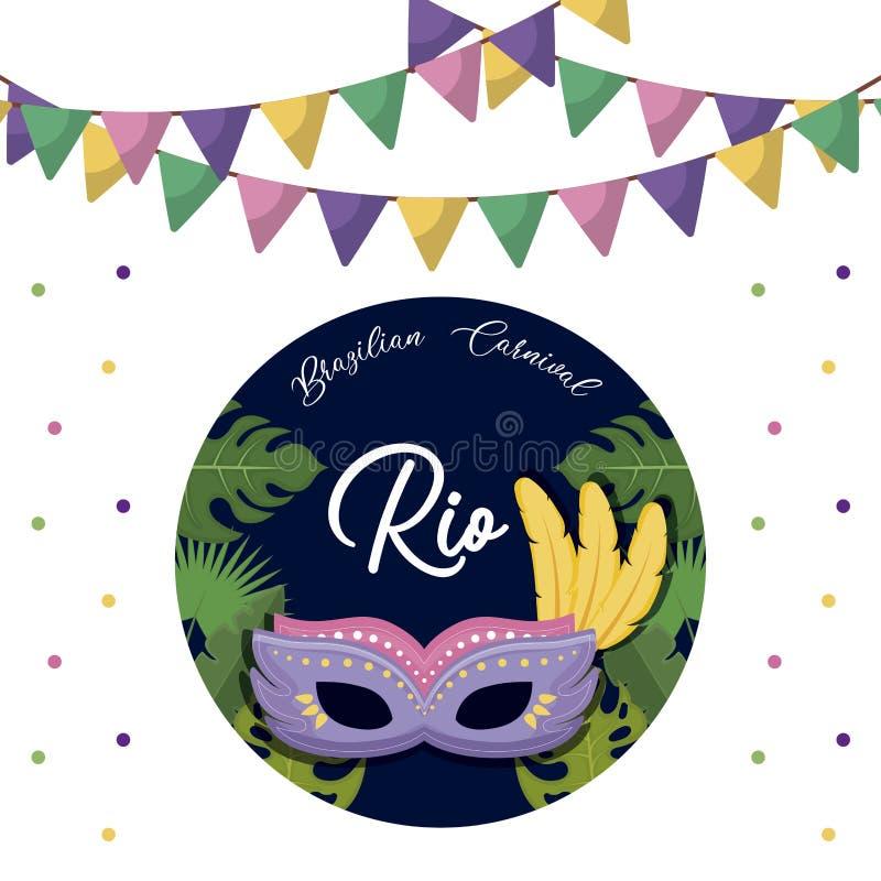 Κάρτα καρναβαλιού Ρίο με τη μάσκα διανυσματική απεικόνιση