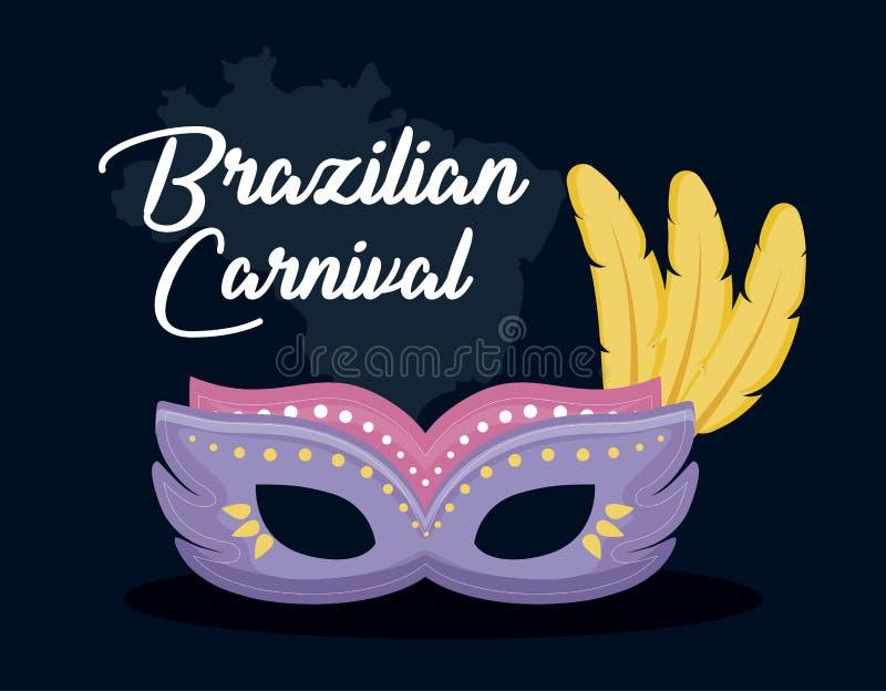 Κάρτα καρναβαλιού Ρίο με τη μάσκα απεικόνιση αποθεμάτων
