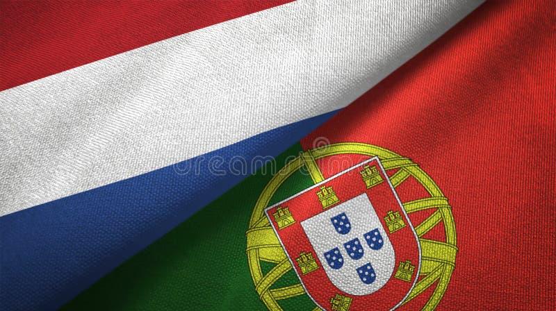 Κάτω Χώρες και Πορτογαλία δύο υφαντικό ύφασμα σημαιών, σύσταση υφάσματος απεικόνιση αποθεμάτων