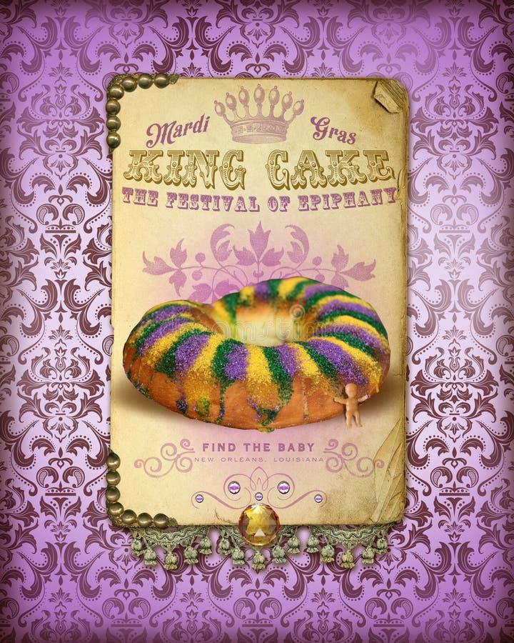 Κέικ βασιλιάδων της Mardi Gras συλλογής πολιτισμού της NOLA διανυσματική απεικόνιση