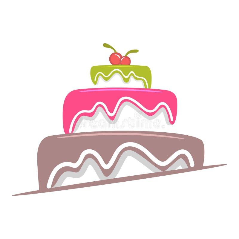 Κέικ με το λούστρο και το λογότυπο κερασιών ελεύθερη απεικόνιση δικαιώματος