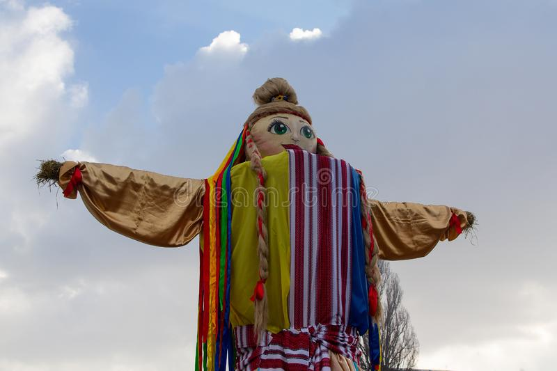 Κίεβο, Ουκρανία - 17 Φεβρουαρίου 2018 : Παραδοσιακή κούκλα ως τοπίο στον εορτασμό σλαβικών διακοπών στοκ φωτογραφία με δικαίωμα ελεύθερης χρήσης