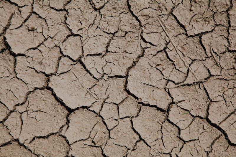 Κίνδυνος παγκόσμιας αύξησης της θερμοκρασίας λόγω του φαινομένου του θερμοκηπίου - ξηρό χώμα με τις ρωγμές στοκ εικόνα
