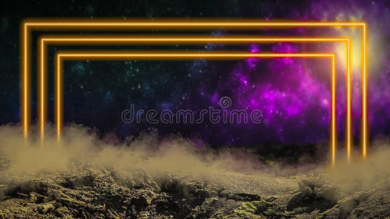 Κίτρινη ελαφριά πυίδα πύλη νέου λέιζερ πέρα από το υπόβαθρο μακρινού διαστήματος διανυσματική απεικόνιση