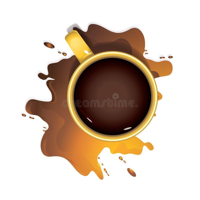 Κίτρινη κούπα του καφέ, τοπ άποψη ελεύθερη απεικόνιση δικαιώματος