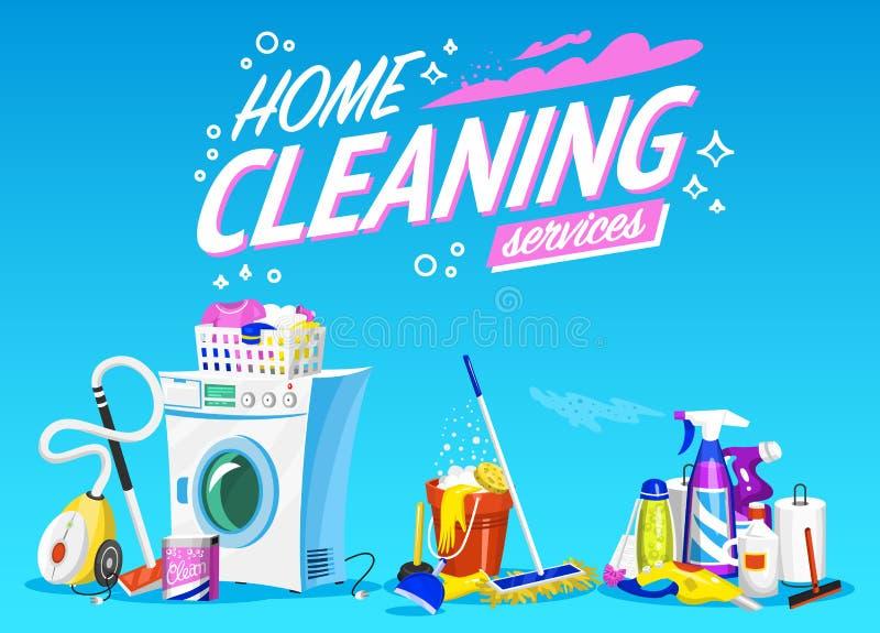 Καθαρίζοντας αφίσα υπηρεσιών Έμβλημα εγχώριων εργαλείων Πλυντήριο, μέσο καθαρισμού απορρυπαντικών, κάδος νερού για Mopping, κενό διανυσματική απεικόνιση