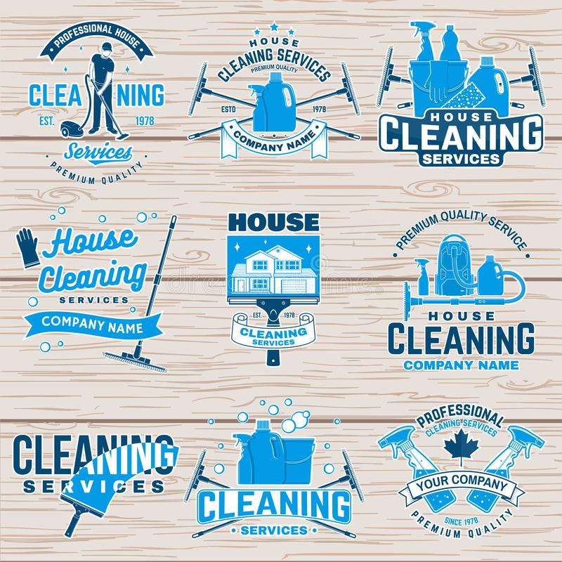 Καθαρίζοντας διακριτικό επιχείρησης, έμβλημα επίσης corel σύρετε το διάνυσμα απεικόνισης Έννοια για το μπάλωμα, το γραμματόσημο ή απεικόνιση αποθεμάτων