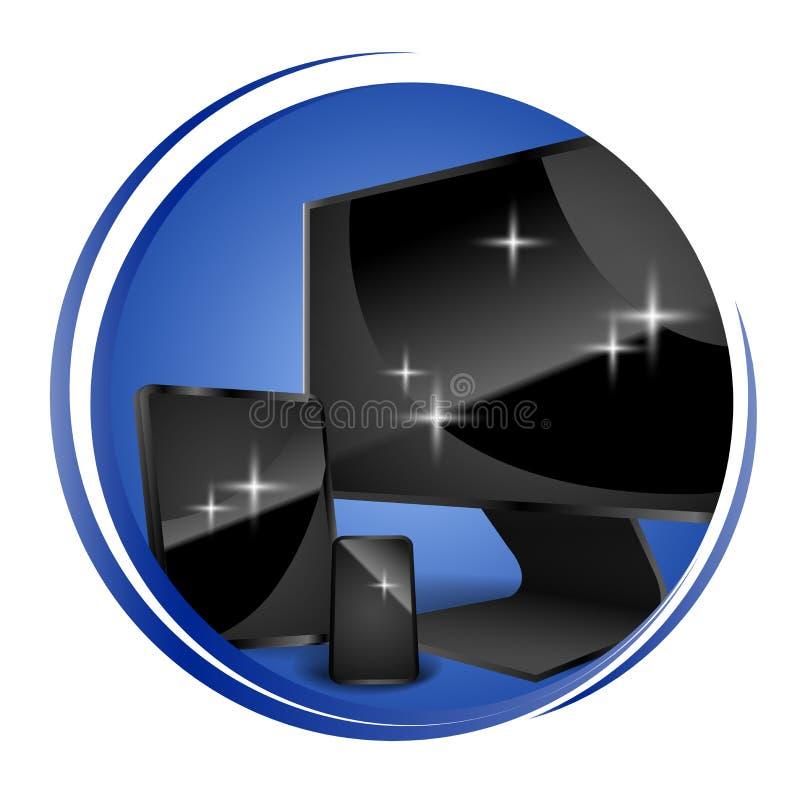 Καθαρός καθαρισμός οργάνων ελέγχου οθόνης στο λαμπρό εικονίδιο η ανασκόπηση απομόνωσε το λευκό επίσης corel σύρετε το διάνυσμα απ στοκ φωτογραφία με δικαίωμα ελεύθερης χρήσης