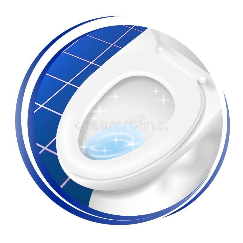 Καθαρότερο εικονίδιο τουαλετών σύμβολο, λογότυπο, σημάδι, αυτοκόλλητη ετικέττα, ετικέτα, ετικέττα, έμβλημα Στρογγυλό πρότυπο σχεδ στοκ εικόνα