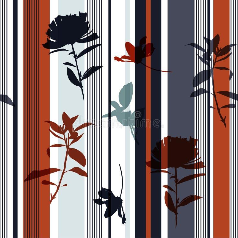 Καθιερώνοντα τη μόδα άνευ ραφής συρμένα χέρι λουλούδι σκιαγραφιών και σχέδιο φύλλων στο αναδρομικό ζωηρόχρωμο διάνυσμα τυπωμένων  διανυσματική απεικόνιση