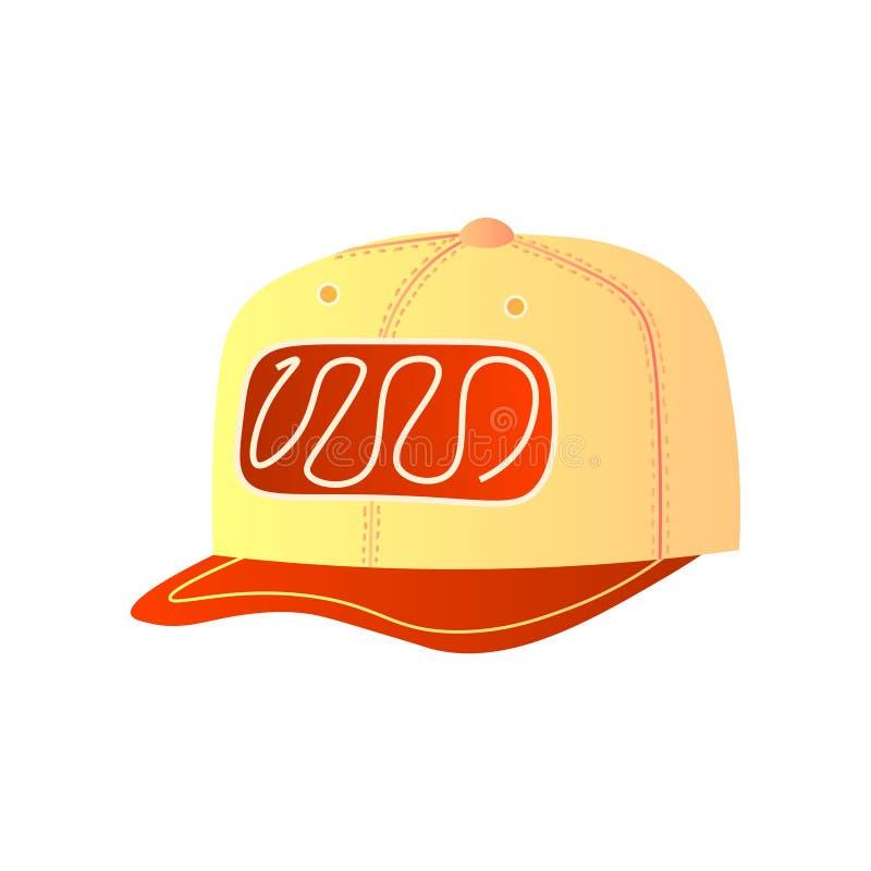 Καθιερώνον τη μόδα κίτρινο καπέλο του μπέιζμπολ με το μπροστινό ντεκόρ και το κόκκινο γείσο απεικόνιση αποθεμάτων