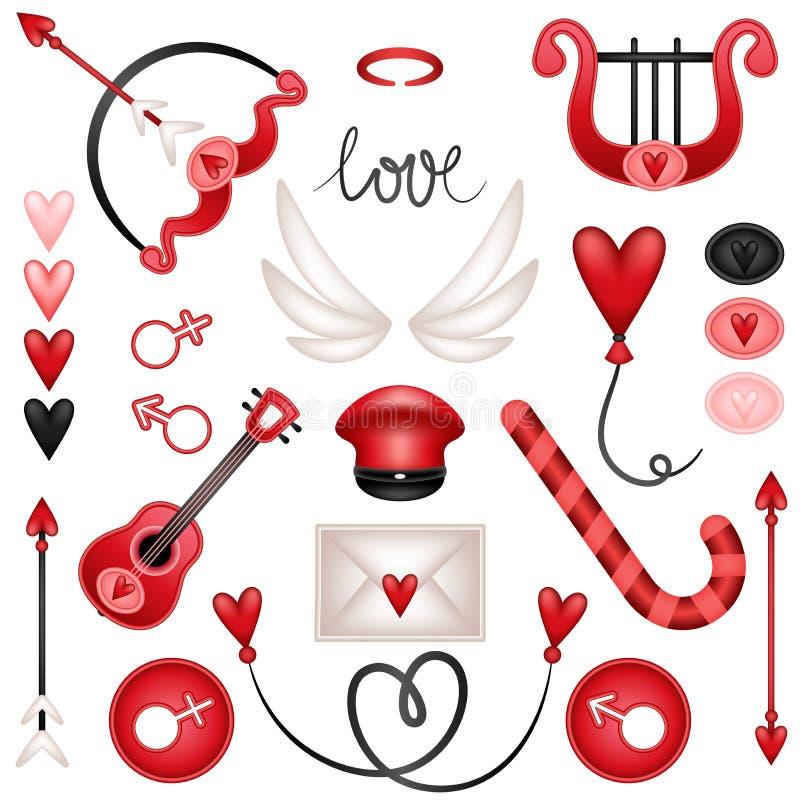 Καθορισμένα στοιχεία αγάπης cupid απεικόνιση αποθεμάτων