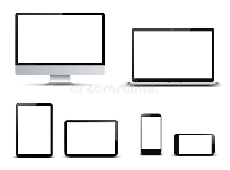 Καθορισμένες συσκευές τεχνολογίας με την κενή επίδειξη - διάνυσμα απεικόνιση αποθεμάτων