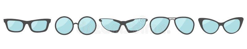 Καθορισμένη γραμμή εικονιδίων γυαλιών Eyeglasses συλλογή γυαλιών ηλίου Επίπεδο σχέδιο απομονωμένος Άσπρη ανασκόπηση ελεύθερη απεικόνιση δικαιώματος