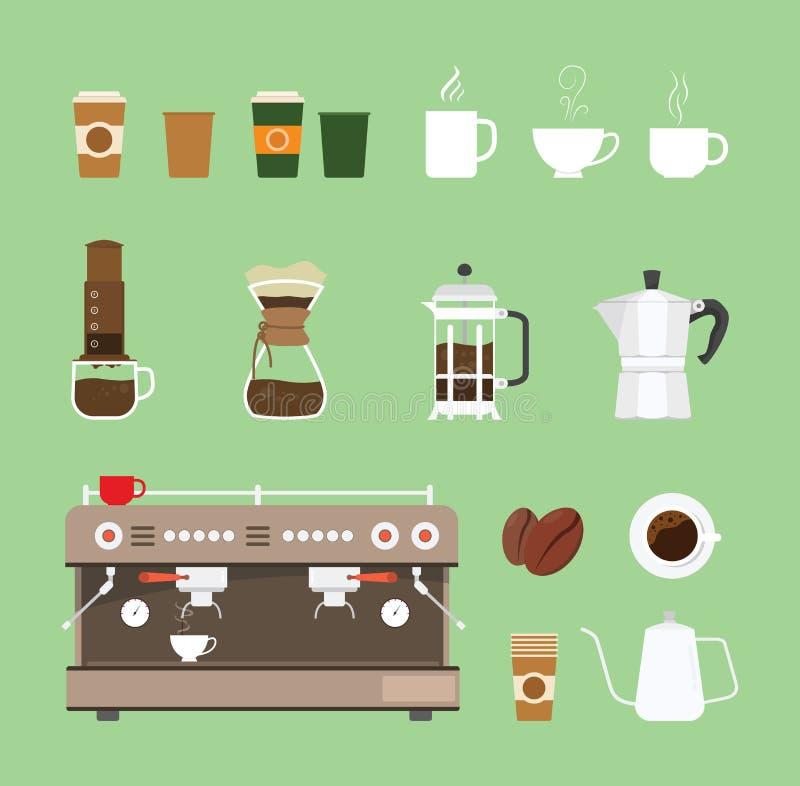 Καθορισμένη συλλογή εξοπλισμού εργαλειομηχανών καφέ με το επίπεδο ύφος σχεδίου - διανυσματική απεικόνιση ελεύθερη απεικόνιση δικαιώματος