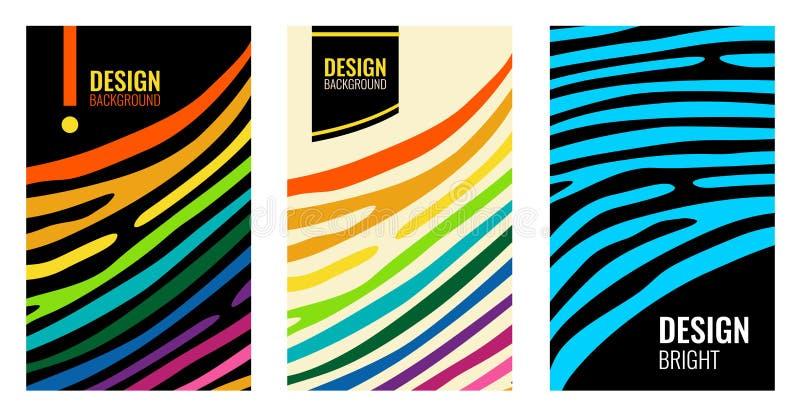 Καθορισμένη φωτεινή κάθετη αφηρημένη ζωηρόχρωμη αφίσα Λουρίδες χρώματος στο μαύρο σκηνικό Σύγχρονο υπόβαθρο για το σχέδιο κάλυψης διανυσματική απεικόνιση