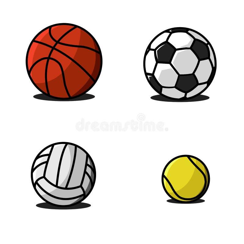 Καθορισμένο ζωηρόχρωμο διάνυσμα σχεδίων αθλητικών σφαιρών παραδοσιακό και διασκέδασης χρωμάτων των εικονιδίων Ποδόσφαιρο συλλογής διανυσματική απεικόνιση