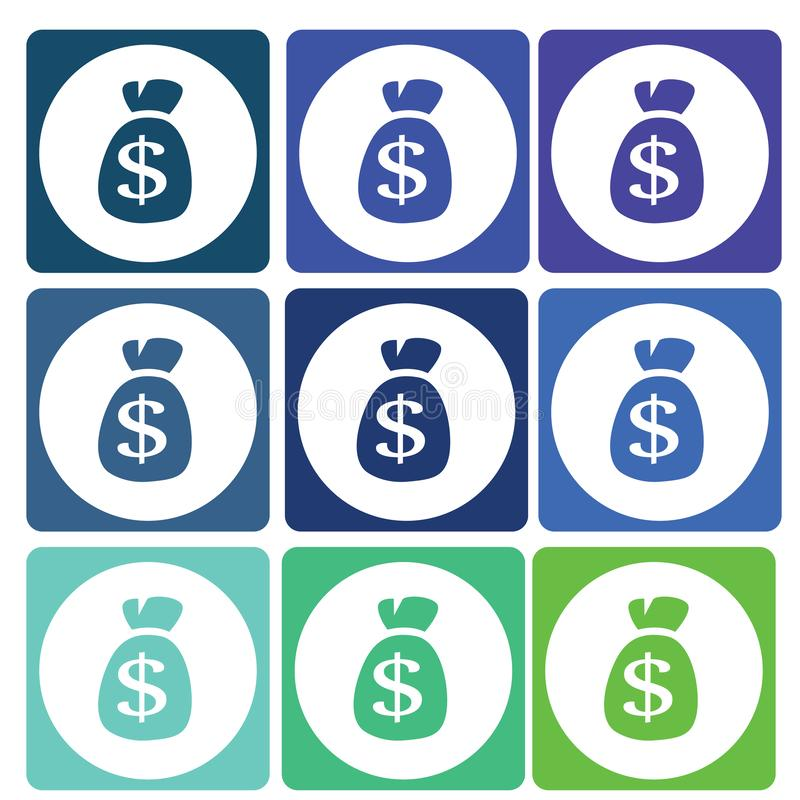 Καθορισμένο διάνυσμα εικονιδίων δολαρίων χρημάτων ελεύθερη απεικόνιση δικαιώματος