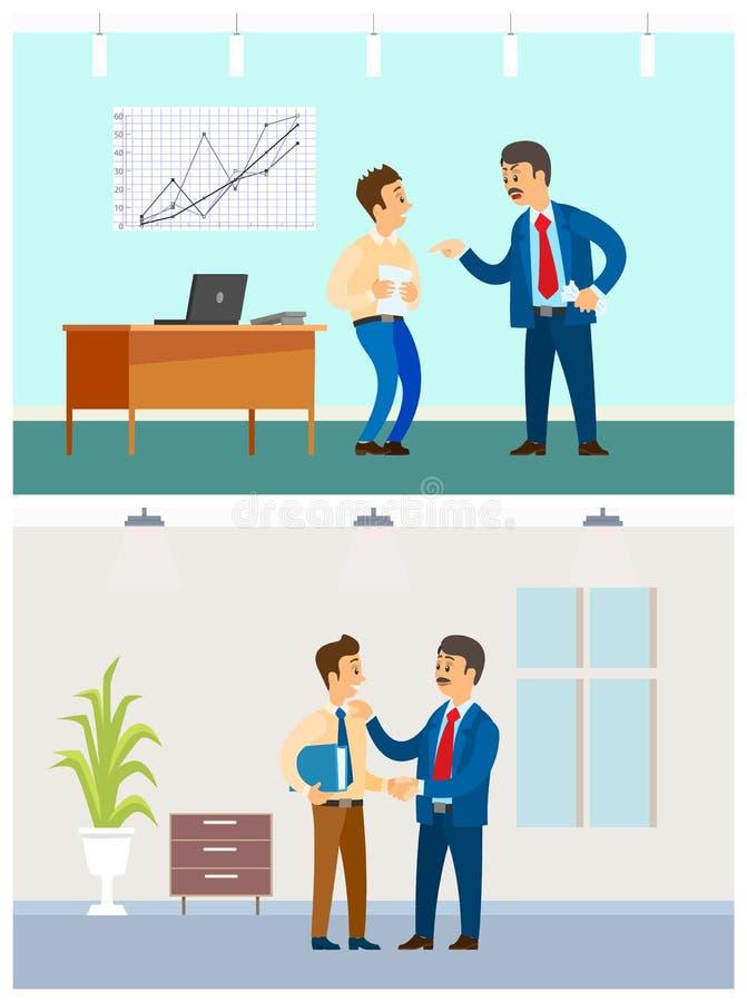 Κακής ή καλής εργασία σχέσης προϊσταμένων και υπαλλήλων, ελεύθερη απεικόνιση δικαιώματος