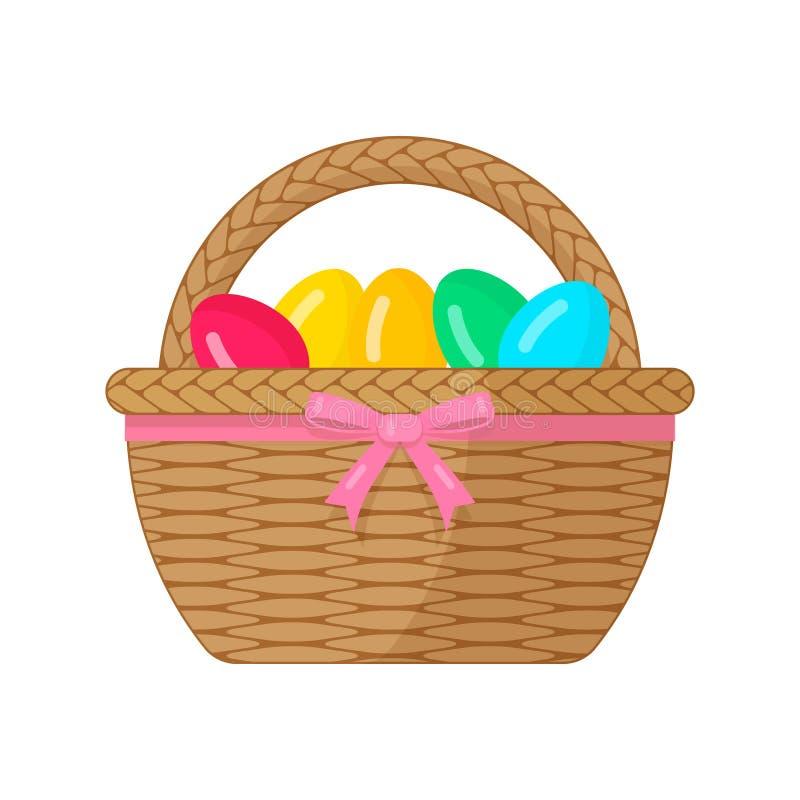 Καλάθι Πάσχας με τα χρωματισμένα αυγά που δένονται με ένα ρόδινο τόξο ελεύθερη απεικόνιση δικαιώματος