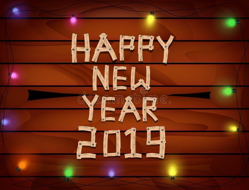 2019 καλή χρονιά με το ξύλο επιστολών και αριθμών στο ξύλινο υπόβαθρο απεικόνιση αποθεμάτων