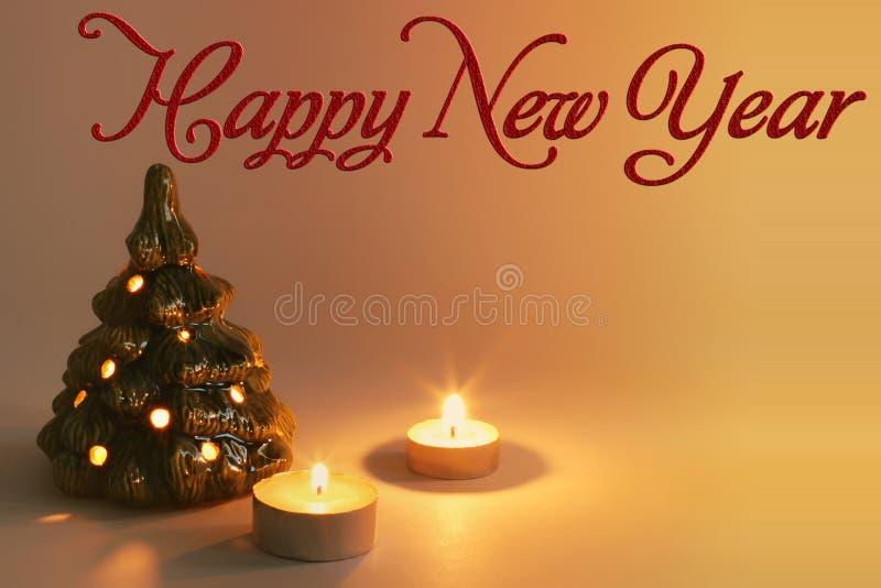 καλή χρονιά χριστουγεννιάτικο δέντρο κεριών ελεύθερη απεικόνιση δικαιώματος