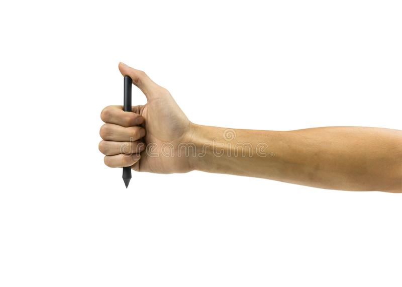 Καλλιεργημένος ενός χεριού ατόμων που κρατά τη μαύρη ψηφιακή ή μάνδρα ποντικιών που απομονώνεται στο άσπρο υπόβαθρο στοκ φωτογραφία με δικαίωμα ελεύθερης χρήσης