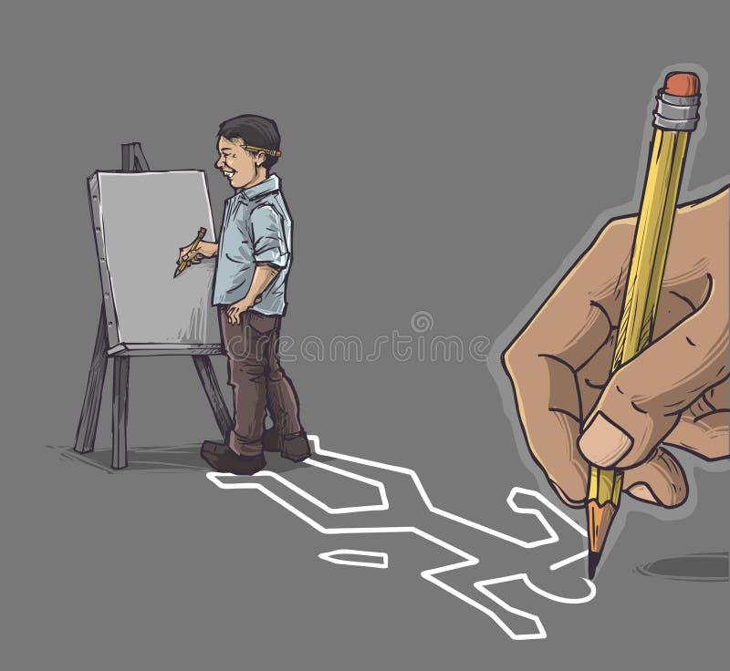 Καλλιτέχνης με τον καμβά απεικόνιση αποθεμάτων