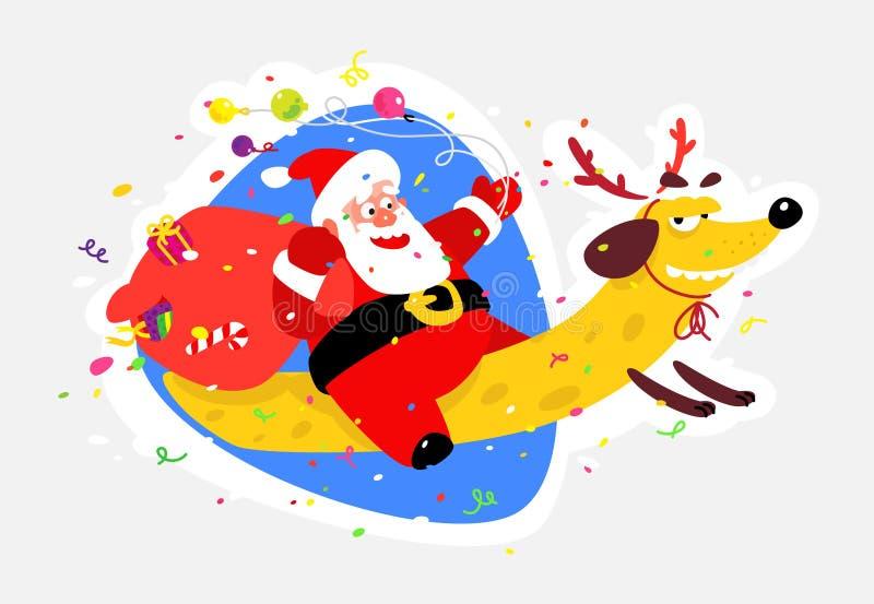 Καλός Άγιος Βασίλης σε ένα κίτρινο σκυλί Κινεζικά νέα έτος και Χριστούγεννα Διανυσματική απεικόνιση που απομονώνεται στην άσπρη α απεικόνιση αποθεμάτων
