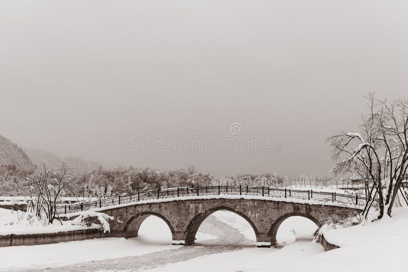 Καλυμμένο γέφυρα χιόνι με τον παγωμένο ποταμό στοκ φωτογραφία με δικαίωμα ελεύθερης χρήσης