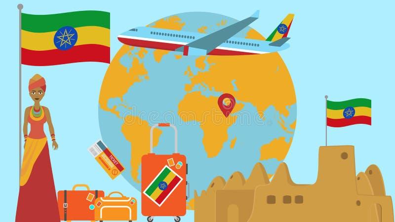 Καλωσορίστε στην κάρτα της Αιθιοπίας Η έννοια ταξιδιού και σαφάρι του κόσμου της Αφρικής χαρτογραφεί τη διανυσματική απεικόνιση μ ελεύθερη απεικόνιση δικαιώματος