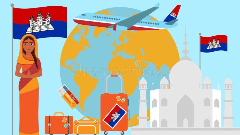 Καλωσορίστε στην κάρτα της Καμπότζης Έννοια ταξιδιού και σαφάρι της διανυσματικής απεικόνισης παγκόσμιων χαρτών της Ασίας με τη ε ελεύθερη απεικόνιση δικαιώματος