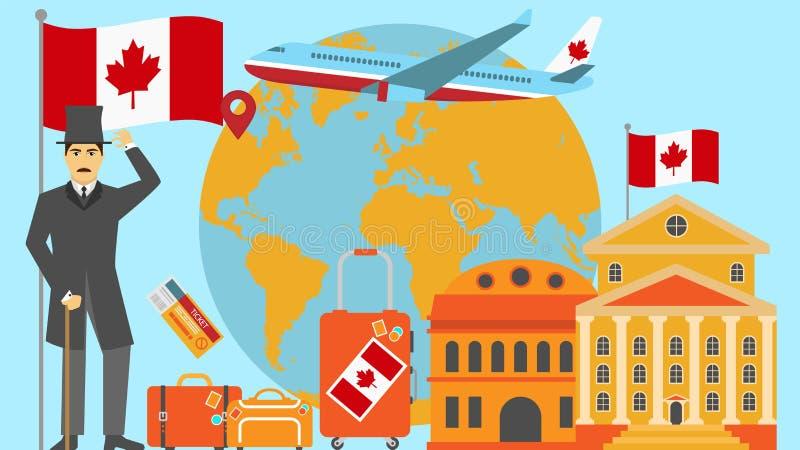 Καλωσορίστε στην κάρτα του Καναδά Έννοια ταξιδιού και σαφάρι της διανυσματικής απεικόνισης παγκόσμιων χαρτών της Ευρώπης με τη εθ απεικόνιση αποθεμάτων
