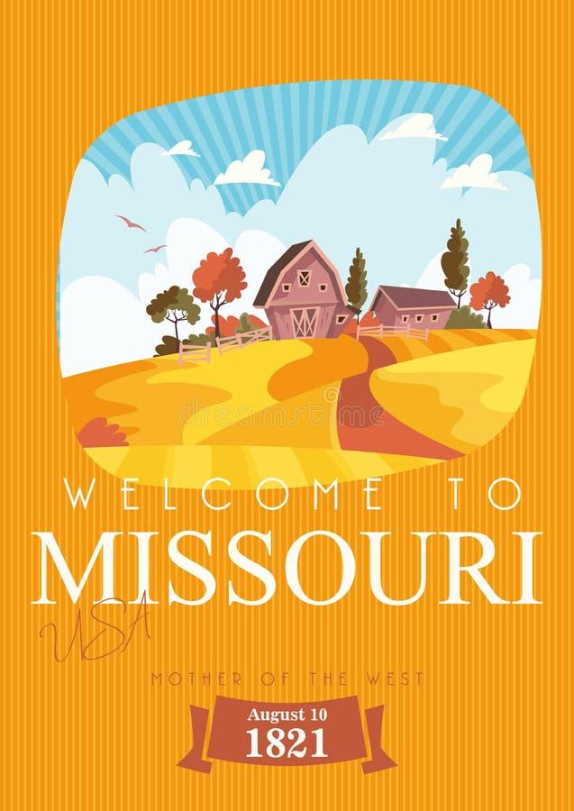 Καλωσορίστε στο Μισσούρι Κάρτα και αναμνηστικό τουριστών Όμορφες θέσεις των Ηνωμένων Πολιτειών της Αμερικής στη θέση διανυσματική απεικόνιση