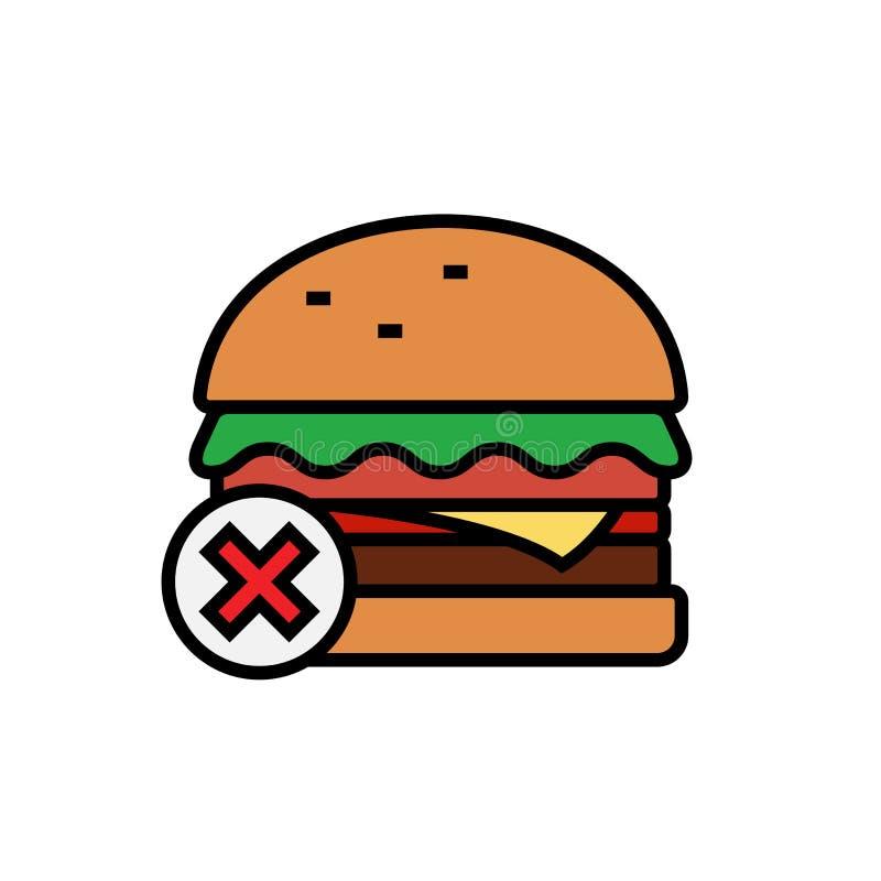 Κανένα εικονίδιο άχρηστου φαγητού burger με το διαγώνιο σύμβολο για την υγιή απεικόνιση διατροφής απλός γραφικός διανυσματική απεικόνιση