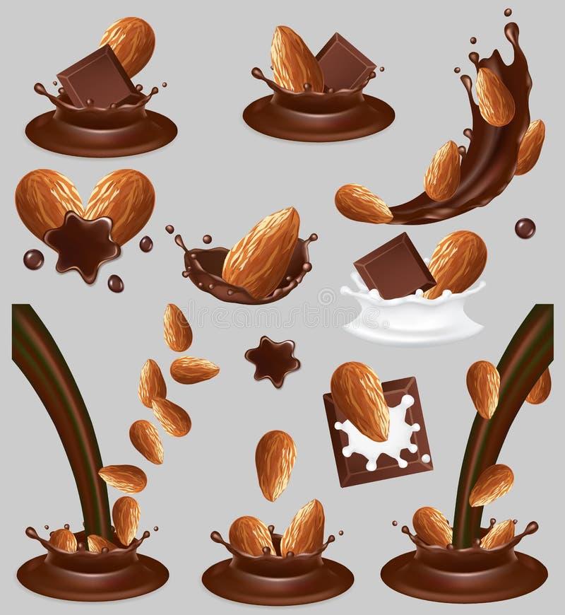 Καρύδι αμυγδάλων στον παφλασμό σοκολάτας, διανυσματική ρεαλιστική απεικόνιση διανυσματική απεικόνιση