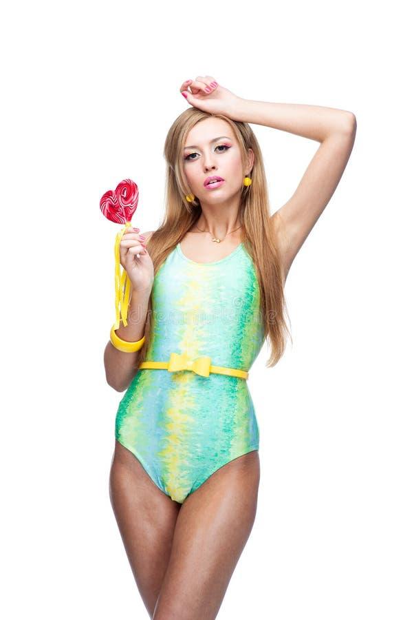 καρφίτσα κοριτσιών lollipop επάν&omega στοκ φωτογραφία